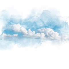 Watercolor illustration of sky with cloud (retouch).
