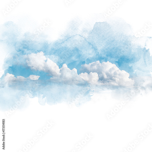 Fototapeta Watercolor illustration of sky with cloud (retouch).