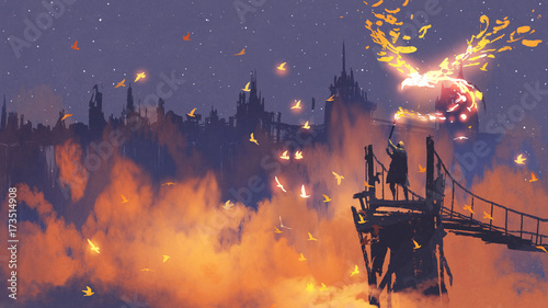 man in cloak holding magic torch against city with orange smoke, digital art style, illustration painting © grandfailure