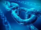 Block chain concept - digital code chain. 3d rendering - 173520164
