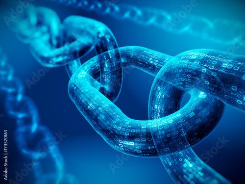 Block chain concept - digital code chain. 3d rendering
