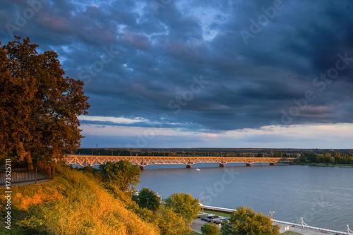 Obraz na płótnie Bridge over Vistula river in Plock, Poland