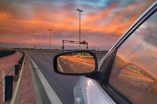 Aluminium Nacht snelweg Car ride on road