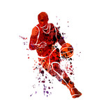 Wektor koszykarz sylwetka akwarela