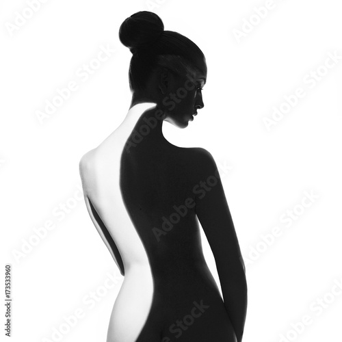 Foto op Canvas womenART Gorgeous young lady with shadow on her body
