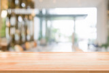 Wood table top on blurred abstract background interior view inside reception hotel or modern hallway for background - 173537141
