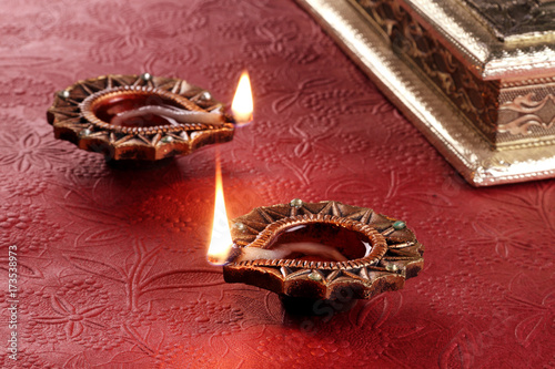 Plakát Indian Festival Diwali Diya Lamp Light