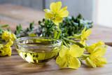 Evening primrose oil in a glass bowl