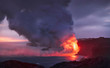 Lava flow meeting the ocean, Hawaii