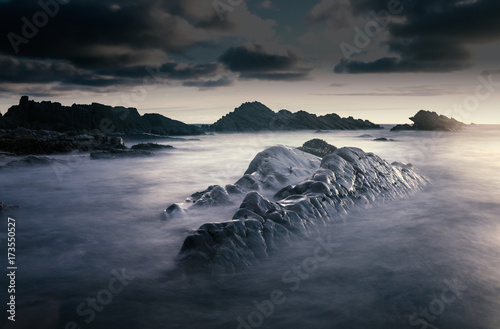 Bude, Cornwall, United Kingdom at sunset, beautiful seascape, sea crashing again Poster
