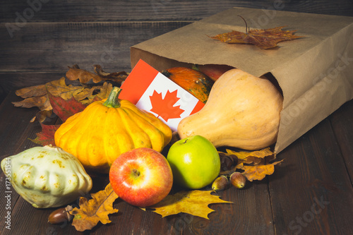 Aluminium Canada Happy Thanksgiving Day in Canada. Vegetables, pumpkins, squash, apples, maple and oak leaves, acorns on a wooden background. Harvest and yellow autumn leaves on a wooden table.