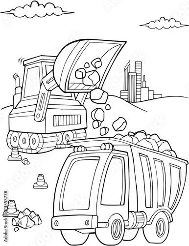 Aluminium Cartoon draw Bulldozer Dump Truck Construction Vector Illustration Art