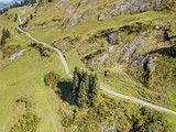 Aerial view of valley in Swiss mountains along Pragel Pass