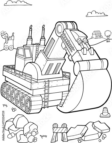 Foto op Plexiglas Cartoon draw Giant Big Digger Construction Vector Illustration Art