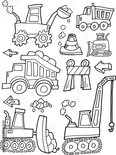 Aluminium Cartoon draw Construction Vehicles Vector Illustration Art Set