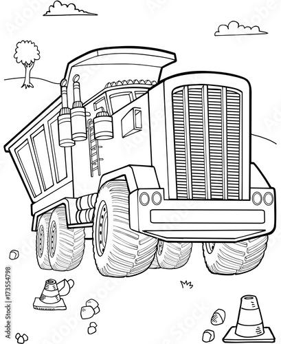 Aluminium Cartoon draw Dump Truck Construction Vector Illustration Art