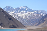 Landscape of mountains and lagoon during winter in Chile - 173558593