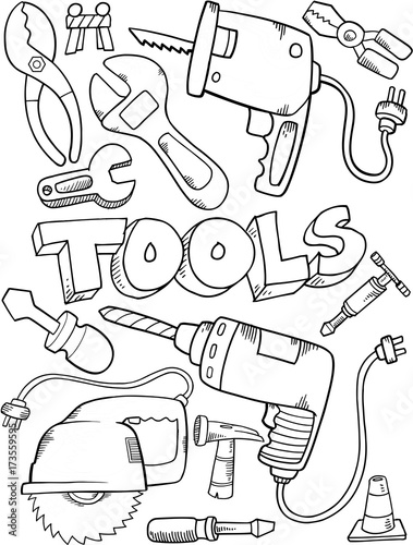 In de dag Cartoon draw Cute Tool Construction Vector Set Illustration Art