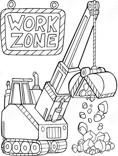 Foto op Plexiglas Cartoon draw Construction Digger Vector Illustration Art