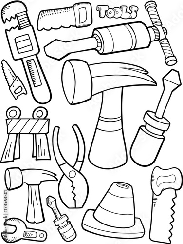 Fotobehang Cartoon draw Cute Tools Construction Vector Illustration Art Srt