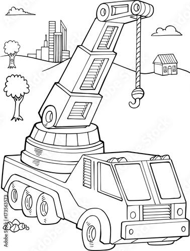 Aluminium Cartoon draw Crane Construction Vector Illustration Art