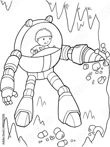 Papiers peints Cartoon draw Construction Mining Robot Vector Illustration Art