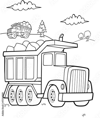 In de dag Cartoon draw Dump Truck Construction Vector Illustration Art