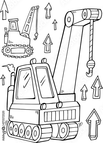 In de dag Cartoon draw Construction Crane Vector Illustration Art