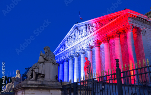 Tuinposter Nice The French National Assembly lit up with colors of French national flag ,Paris.