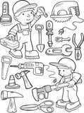 Construction Workers and Tools Vector Illustration Art Set - 173575570
