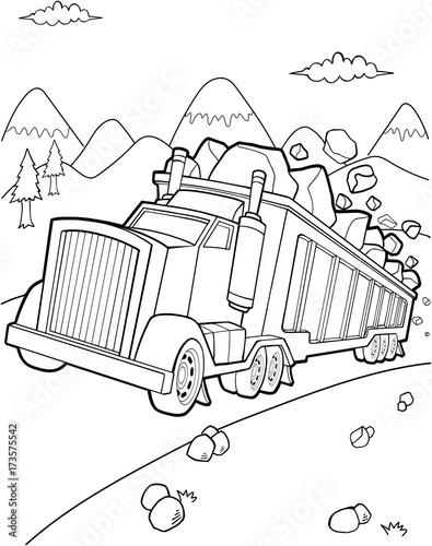 Aluminium Cartoon draw Big Tough Dump Truck Vector Illustration Art