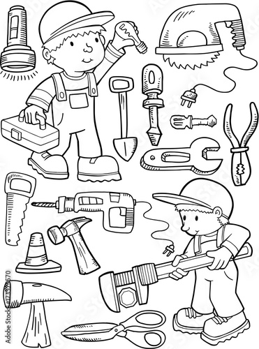 In de dag Cartoon draw Construction Workers and Tools Vector Illustration Art Set