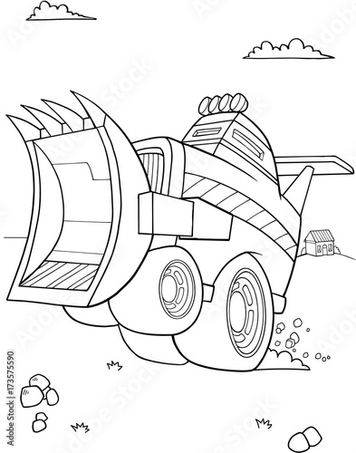 Fotobehang Cartoon draw Construction Bulldozer Vehicle Vector Illustration Art