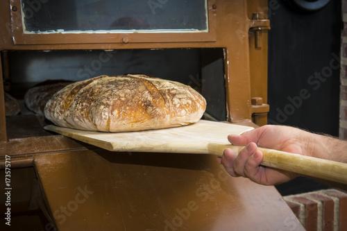 Panadero sacando el pan para la comida con una pala de madera de un horno tradicional de panadería