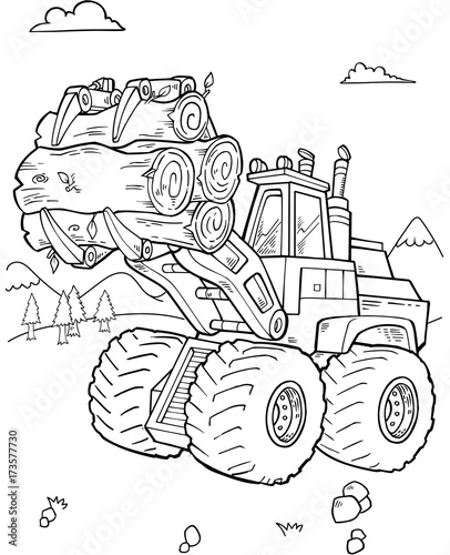 Foto op Canvas Cartoon draw Construction Front Loader Vector Illustartion Art