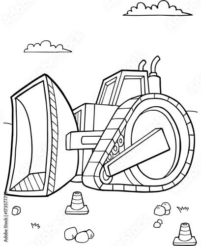 Aluminium Cartoon draw Bulldozer Construction Vector Illustration Art