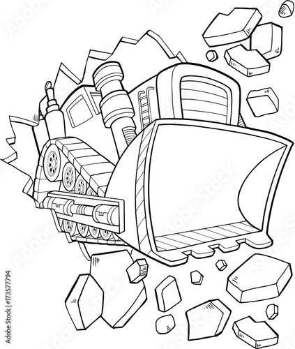 In de dag Cartoon draw Tough Bulldozer Construction Vector Illustration Art