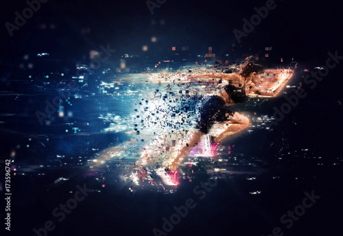 Fototapeta Athletic woman fast runner with futuristic effects