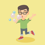 Little caucasian boy blowing soap bubbles. Boy in glasses making soap bubbles. Boy playing with soap bubbles. Vector cartoon illustration. Square layout. - 173601757
