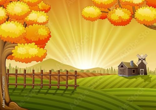Fotobehang Boerderij Farm cartoon landscape