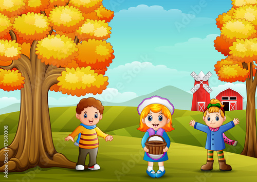 Poster Turkoois Cute three kids in farm background
