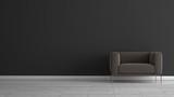Stoffsessel vor dunkelgrauer Wand auf weissem Holzfussboden - 173612174