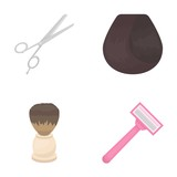 Scissors, brush, razor and other equipment. Hairdresser set collection icons in cartoon style vector symbol stock illustration web. - 173616199