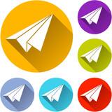 paper plane circle icons set - 173625568