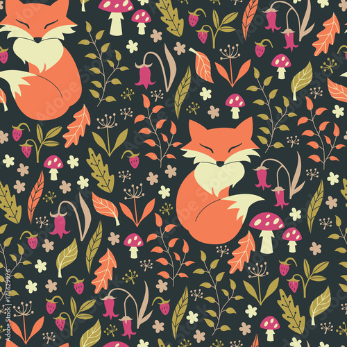 Fototapeta Fox in Autumn Forest. Vector Illustration.