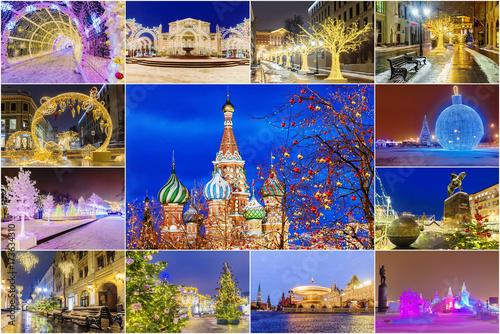Boże Narodzenie w Moskwie. Świąteczny kolaż atrakcji Moskwy