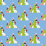 Christmas tree penguins and bear pattern