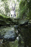 hiker in narrow gorge canyon at matese park valle del torano - 173645790