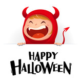 Happy Halloween. Red devil demon with big signboard. White background. - 173653913