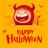 Happy Halloween. Red devil demon with big signboard. Yellow background. - 173653925